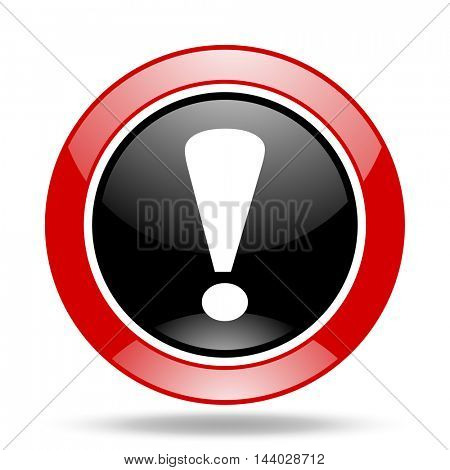 exclamation sign round glossy red and black web icon