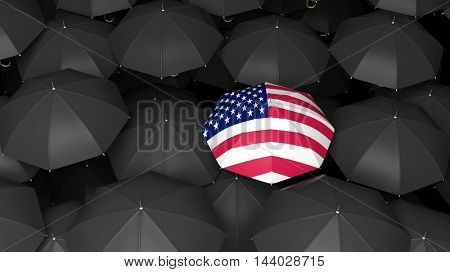 3D rendering of umbrella background with one covered in united states flag