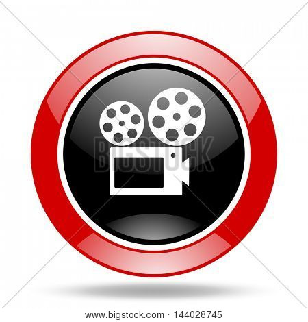 movie round glossy red and black web icon