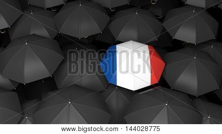 Top view of 3d rendered umbrella with french flag over black ones
