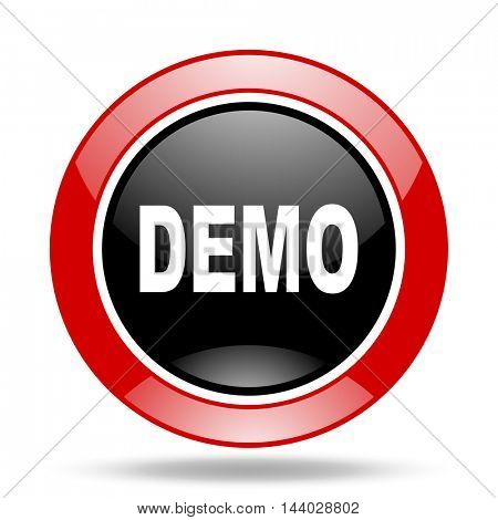 demo round glossy red and black web icon