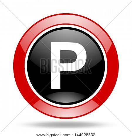 parking round glossy red and black web icon