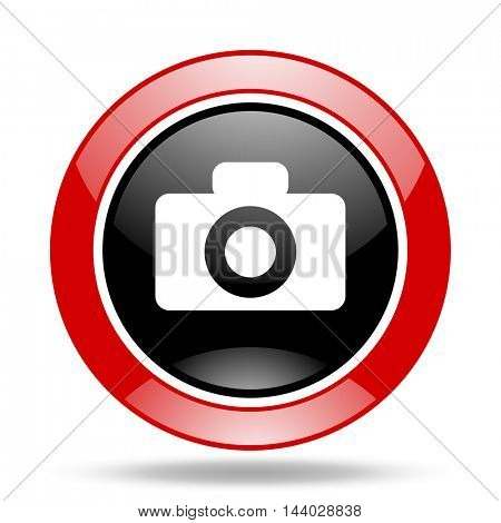 camera round glossy red and black web icon