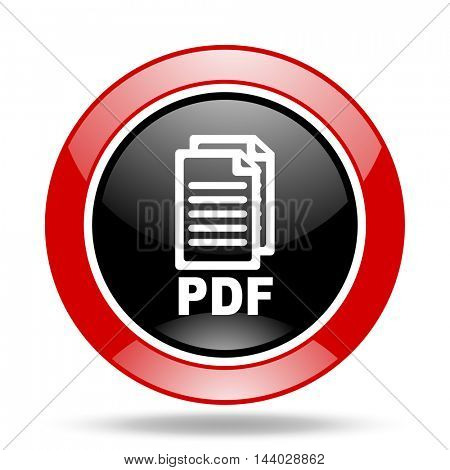 pdf round glossy red and black web icon,