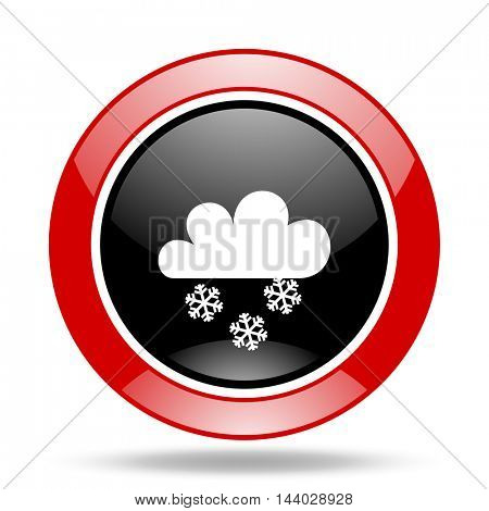snowing round glossy red and black web icon