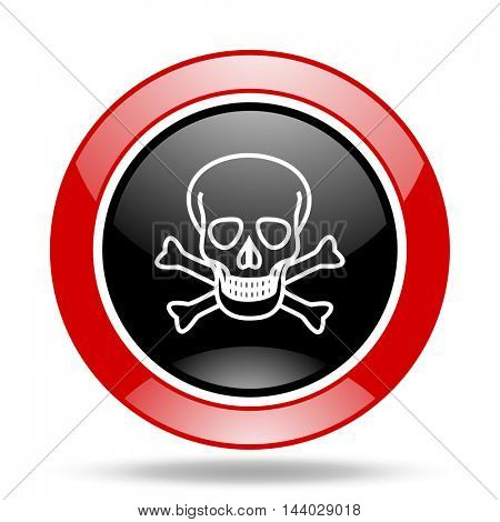 skull round glossy red and black web icon