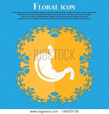 Stomach Icon. Floral Flat Design On A Blue Abstract Background With Place For Your Text. Vector
