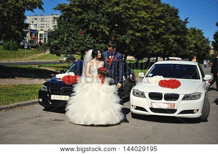 Wedding couple near wedding car at wedding