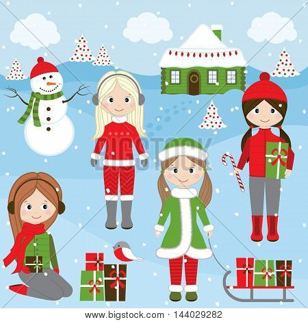 Vector Christmas girls with snowman sledge gifts and Christmas tree