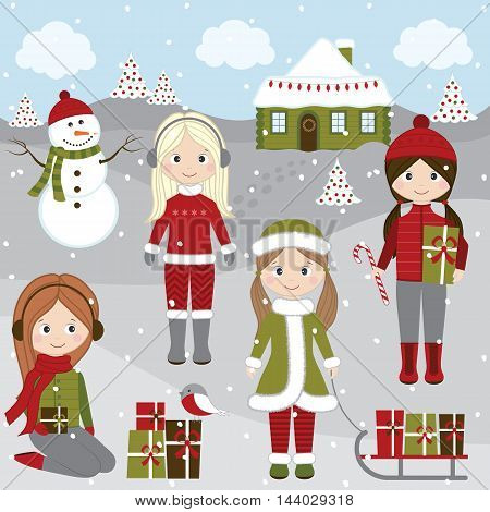 Vector Christmas girls with sledge Christmas trees snowman and snow