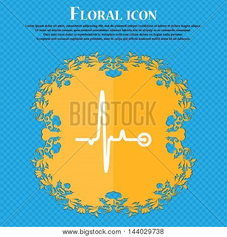 Heartbeat Icon. Floral Flat Design On A Blue Abstract Background With Place For Your Text. Vector