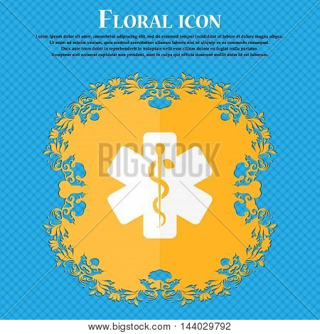 Medicine Icon. Floral Flat Design On A Blue Abstract Background With Place For Your Text. Vector