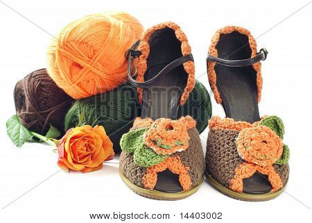 Pair of knitted shoes