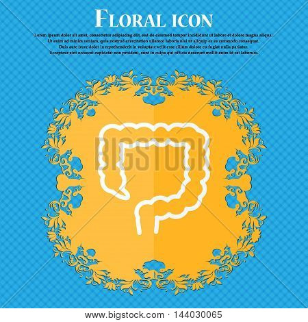 Large Intestine Icon. Floral Flat Design On A Blue Abstract Background With Place For Your Text. Vec