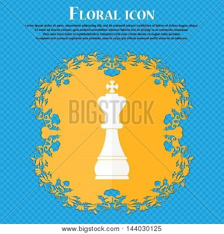 Chess King Icon. Floral Flat Design On A Blue Abstract Background With Place For Your Text. Vector