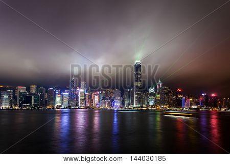 HongKong - April 17, 2016 Symphony of Lights - light and sound show in HongKong