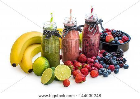Smoothies with Fresh Fruit Isolated on White Background