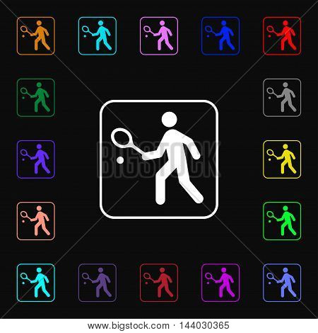 Tennis Player Icon Sign. Lots Of Colorful Symbols For Your Design. Vector
