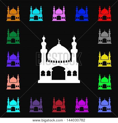 Turkish Architecture, Mosque Icon Sign. Lots Of Colorful Symbols For Your Design. Vector