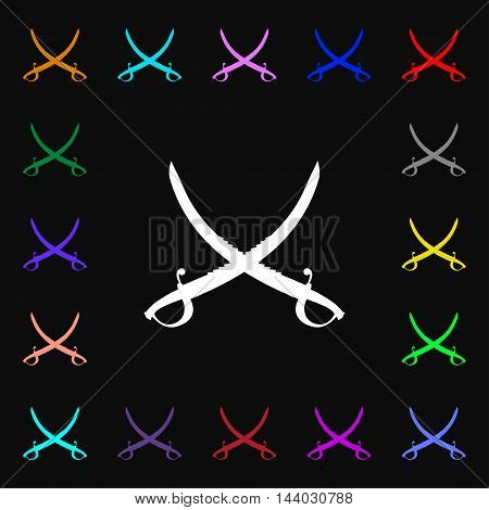 Crossed Saber Icon Sign. Lots Of Colorful Symbols For Your Design. Vector