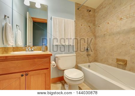 Bathroom Interior With Marble Tile Wall Trim