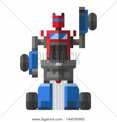 Cute robot vector character. Robot technology machine future science toy. Cyborg futuristic design robotic toy robot. Cute element icon character, cartoon robot.