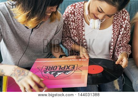 Friends Listening Music Vintage Record Concept