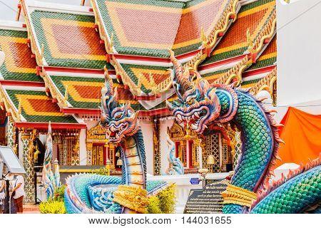 Thai dragon or king of Naga statue in phathat Cheung choom woravihan temple of Sakon Nakhon Thailand