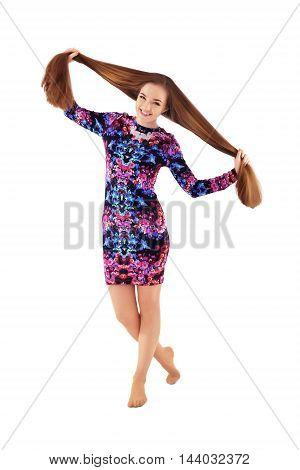 cheerful happy girl with very long hair