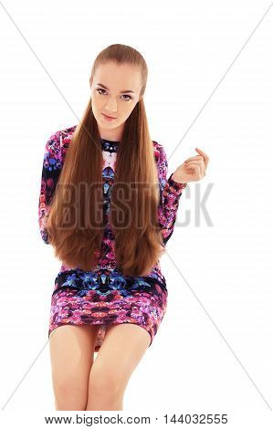 beautiful lady with very long hair. The concept of beauty and fashion