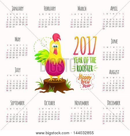 Calendar 2017. Cute design with cartoon Rooster symbol New Year. Vector illustration.