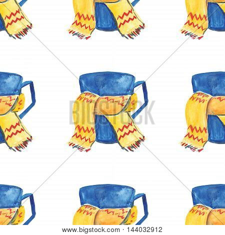 Watercolor seamless pattern with mug and scarf Hand drawn picture