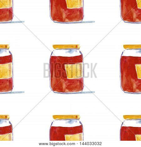 Jar of homemade marmalade Strawberry or raspberry jam Hand drawn image