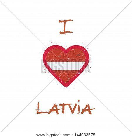 I Love Latvia T-shirt Design. Latvian Flag In The Shape Of Heart On White Background. Grunge Vector