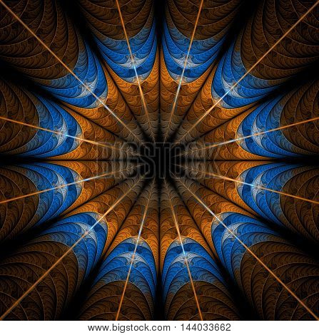 Abstract mandala on black background. Symmetrical pattern in brown blue colors. Fantasy fractal design for postcards, wallpapers or clothes.