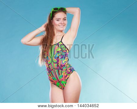 Happy Woman Girl In Swimsuit. Summer Holiday.