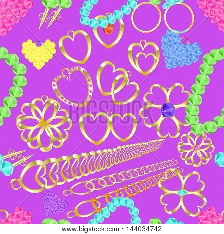 Seamless Pattern Of Gold Jewelry Rings, Necklaces, Catkins, Charms, Pendants On A Purple Background.