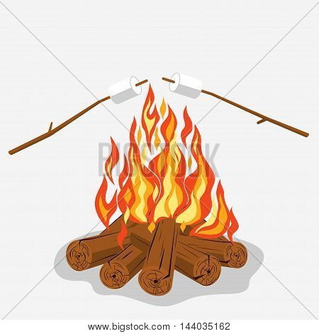 Bonfire with marshmallow - camping, burning woodpile. Vector