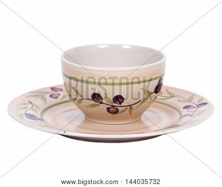 Painted bowl and plate separated on white background