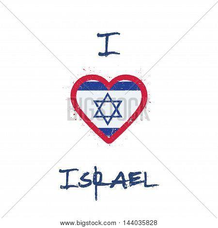 I Love Israel T-shirt Design. Israeli Flag In The Shape Of Heart On White Background. Grunge Vector