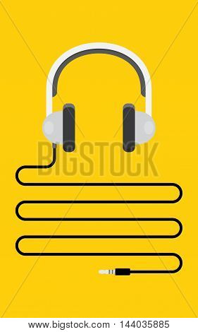 Headphones with cord and plug. on yellow background Vector illustration