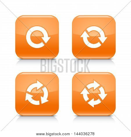 4 arrow icon. White refresh reload rotation repeat sign. Set 03. Orange rounded square button with gray reflection black shadow on white background. Vector illustration web design element in 8 eps