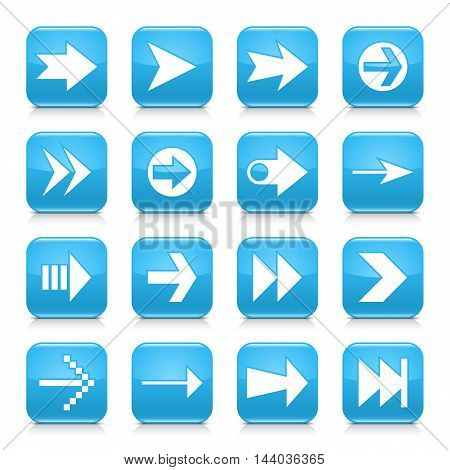 16 arrow icon set 02. White sign on blue rounded square button with gray reflection black shadow on white background. Glossy style. Vector illustration web design element save in 8 eps