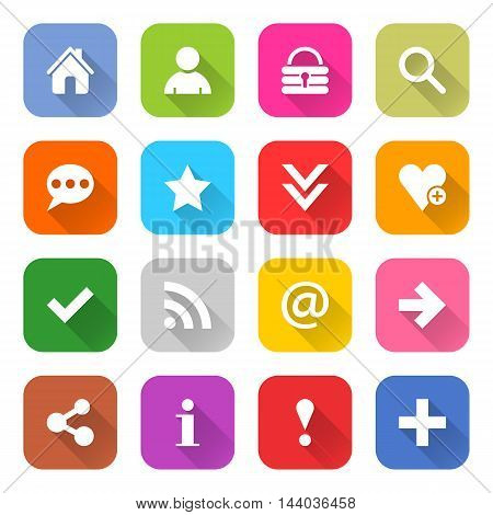 16 basic icon set 05 white sign on color. Web internet button on white background. Simple minimalistic mono flat long shadow style. Vector illustration internet design graphic element 10 eps