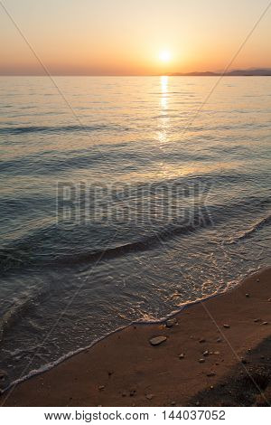 Sunset with calm sea in Sithonia Chalkidiki Greece