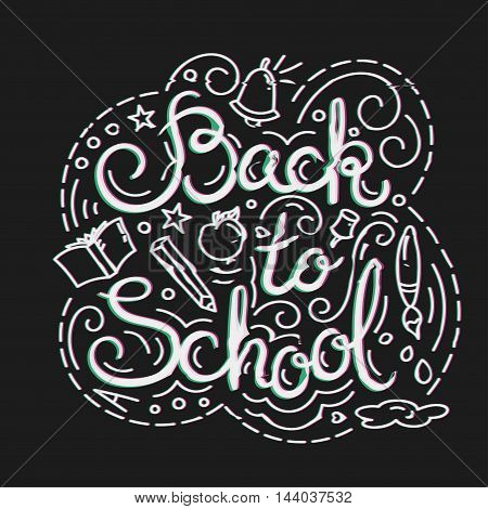 Back to School Card with Glitch Effect. School Themed Doodle Elements in Glitch Style. Distortion lettering poster. Vector Illustration.