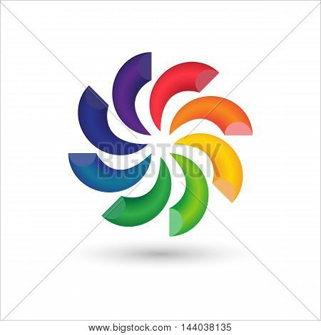Abstract circle colorful 3d logo icon design, Vector illustration