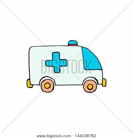 Ambulance car icon isolated on white background in style hand draw