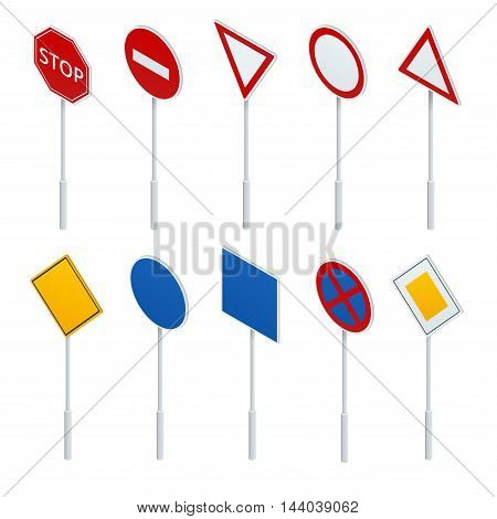 European traffic signs collection. Signs of danger. Mandatory signs. Signs of obligations. Signs of alerts.