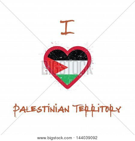 I Love Palestine, State Of T-shirt Design. Palestinian Flag In The Shape Of Heart On White Backgroun